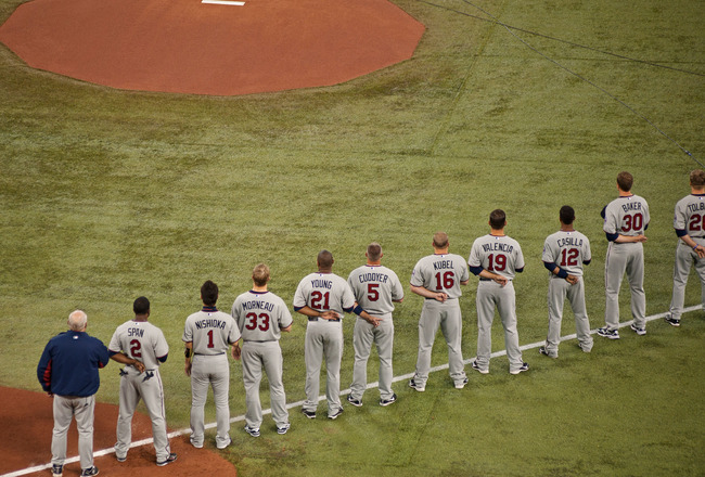 TORONTO,CANADA - APRIL 1:  The Minnesota Twins line up along the first baseline prior to the home opener against the Toronto Blue Jays during their MLB game at the Rogers Centre April 1, 2011 in Toronto, Ontario, Canada.(Photo By Dave Sandford/Getty Image