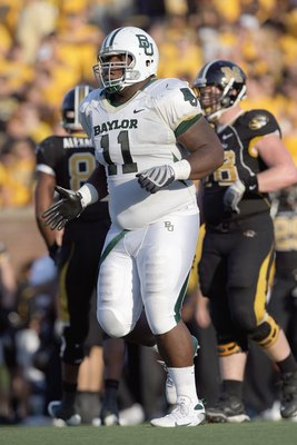 COLUMBIA, MO - NOVEMBER 7: Phil Taylor #11 of the Baylor Bears moves on the field during the game against the Missouri Tigers at Faurot Field at Memorial Stadium on November 7, 2009 in Columbia, Missouri. (Photo by Jamie Squire/Getty Images)