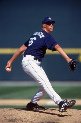 2 Apr 2000:  Pitcher Ryan Anderson #56 of the Seattle Mariners winds up for the pitch during the game against the Philadelphia Phillies at the Safeco Field in Seattle, Washington. The Mariners defeated the Phillies 3-2. Mandatory Credit: Otto Greule Jr.