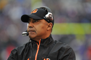 BALTIMORE, MD - JANUARY 2:  Head coach Marvin Lewis of the Cincinnati Bengals coaches against the Baltimore Ravens at M&T Bank Stadium on January 2, 2011 in Baltimore, Maryland. The Ravens defeated the Bengals 13-6. (Photo by Larry French/Getty Images)