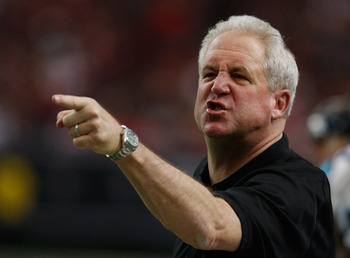 ATLANTA, GA - JANUARY 02:  Carolina Panthers head coach John Fox reacts to a call in the second quarter during their game against the Atlanta Falcons at the Georgia Dome on January 2, 2011 in Atlanta, Georgia.  (Photo by Scott Halleran/Getty Images)