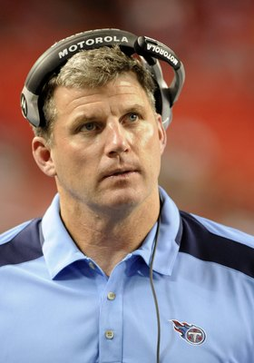 ATLANTA - AUGUST 22: Offensive line coach Mike Munchak of the Tennessee Titans watches play against the Atlanta Falcons at the Georgia Dome on August 22, 2008 in Atlanta, Georgia.  (Photo by Al Messerschmidt/Getty Images)