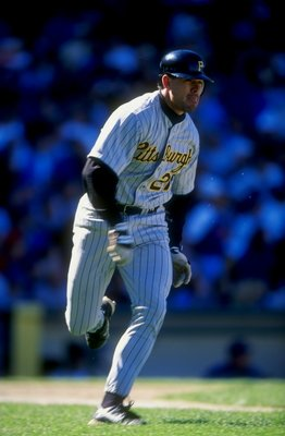 7 Sep 1998: Tim Laker #27 of the Pittsburgh Pirates runs during the game against the Chicago Cubs at Wrigley Field in Chicago, Illinois. The Cubs defeated the Pirates 4-2.