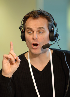 Colin Cowherd of ESPN Radio hosts The Herd from the Super Bowl XL Media Center at the Renaissance Center in Detroit, Michigan on January 30, 2006.  (Photo by Al Messerschmidt/Getty Images)
