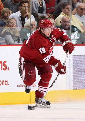 GLENDALE, AZ - APRIL 01:  Shane Doan #19 of the Phoenix Coyotes skates with the puck during the NHL game against he Colorado Avalanche at Jobing.com Arena on April 1, 2011 in Glendale, Arizona.  The Avalanche defeated the Coyotes 4-3 in an overtime shoot