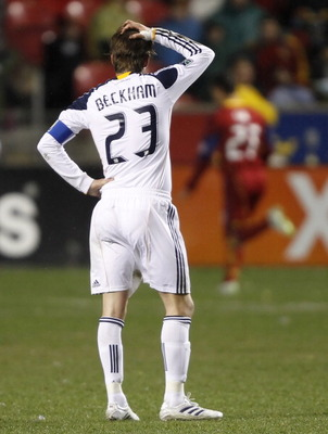 SANDY, UT - MARCH 26:  David Beckham #23 of the Los Angeles Galaxy puts his hand on his head during a game against Real Salt Lake in the second half of an MLS soccer game March 26, 2011 at Rio Tinto Stadium in Sandy, Utah. Real Salt Lake beat the Los Ange