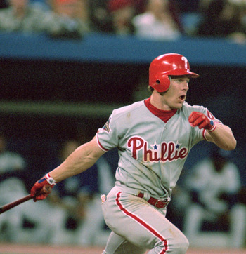 TORONTO - OCTOBER 17:  Lenny Dykstra #4 of the Philadelphia Phillies swings at a pitch during Game two of the 1993 World Series against the Toronto Blue Jays at Skydome on October 17, 1993 in Toronto, Ontario, Canada. The Phillies defeated the Blue Jays 6