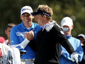 AUGUSTA, GA - APRIL 05:  Sergio Garcia of Spain and Luke Donald of England share a laugh during a practice round prior to the 2011 Masters Tournament at Augusta National Golf Club on April 5, 2011 in Augusta, Georgia.  (Photo by Jamie Squire/Getty Images)
