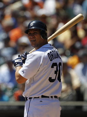 DETROIT - JUNE 17:  Magglio Ordonez #30 of the Detroit Tigers bats during the first inning during the game against the Washington Nationals on June 17, 2010 at Comerica Park in Detroit, Michigan. The Tigers defeated the Nationals 8-3.  (Photo by Leon Hali
