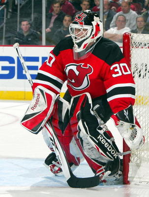 NEWARK, NJ - MARCH 17:  Martin Brodeur #30 of the New Jersey Devils defends his net against the Chicago Blackhawks at the Prudential Center on March 17, 2009 in Newark, New Jersey. The Devils defeated the Blackhawks 3-2 for Brodeur's 552nd victory making