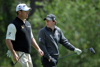 AUGUSTA, GA - APRIL 05:  Lee Westwood of England (L) walks alongside Rory McIlroy of Northern Ireland down a fairway during a practice round prior to the 2011 Masters Tournament at Augusta National Golf Club on April 5, 2011 in Augusta, Georgia.  (Photo b