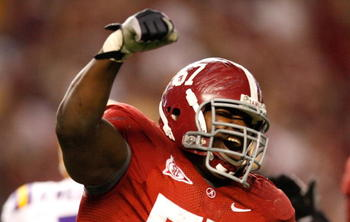 TUSCALOOSA, AL - NOVEMBER 07:  Marcell Dareus #57 of the Alabama Crimson Tide celebrates his sack against the Louisiana State University Tigers at Bryant-Denny Stadium on November 7, 2009 in Tuscaloosa, Alabama.  (Photo by Kevin C. Cox/Getty Images)