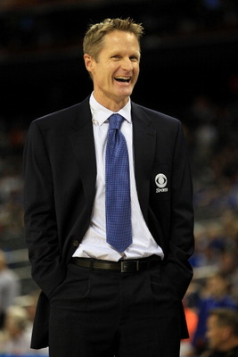 HOUSTON, TX - APRIL 04:  Broadcaster Steve Kerr smiles on the court before the National Championship Game of the 2011 NCAA Division I Men's Basketball Tournament between the Butler Bulldogs and Connecticut Huskies at Reliant Stadium on April 4, 2011 in Ho