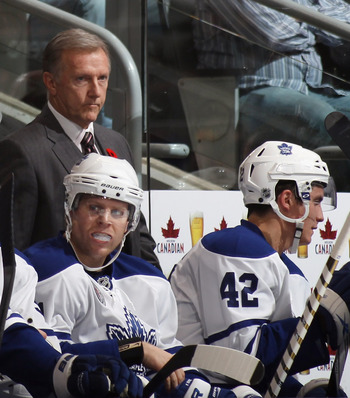 TORONTO, ON - NOVEMBER 06: Head coach Ron Wilson of the Toronto Maple Leafs watches the game against the Buffalo Sabres at the Air Canada Centre on November 6, 2010 in Toronto, Canada.  (Photo by Bruce Bennett/Getty Images)