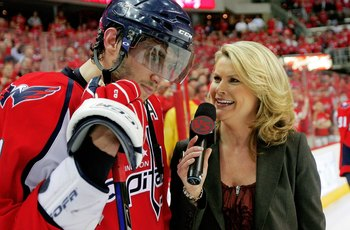 WASHINGTON - APRIL 28:  Alex Ovechkin #8 of the Washington Capitals does a on ice post game interview after defeating the New York Rangers following Game Seven of the Eastern Conference Quarterfinal Round of the 2009 Stanley Cup Playoffs on April 28, 2009