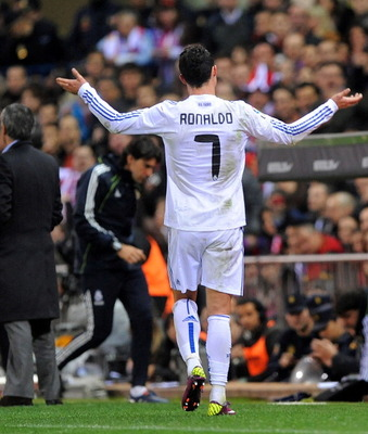 MADRID, SPAIN - MARCH 19: Cristiano Ronaldo of Real Madrid reacts while being substituted during the La Liga match between Atletico Madrid and Real Madrid at Vicente Calderon Stadium on March 19, 2011 in Madrid, Spain.  (Photo by Denis Doyle/Getty Images)