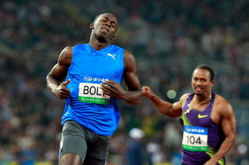 DAEGU, SOUTH KOREA - MAY 19: Usain Bolt of Jamaica celebrates after crossing the finish line of the men's 100 metres during the Colorful Daegu Pre-Championships Meeting 2010 at Daegu Stadium on May 19, 2010 in Daegu, South Korea. Bolt won the race at 9.86