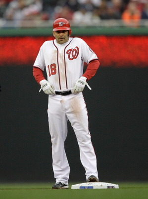 WASHINGTON, DC - MARCH 31: Base runner Danny Espinosa #18 of the Washington Nationals against the Atlanta Braves at Nationals Park on March 31, 2011 in Washington, DC.  (Photo by Rob Carr/Getty Images)