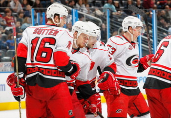 ATLANTA, GA - FEBRUARY 13:  Joe Corvo #77 of the Carolina Hurricanes celebrates his goal against the Atlanta Thrashers with teammates at Philips Arena on February 13, 2011 in Atlanta, Georgia.  (Photo by Kevin C. Cox/Getty Images)
