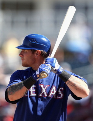 SURPRISE, AZ - MARCH 11:  Josh Hamilton #32 of the Texas Rangers bats against the Cincinnati Reds during the spring training game at Surprise Stadium on March 11, 2011 in Surprise, Arizona.  (Photo by Christian Petersen/Getty Images)
