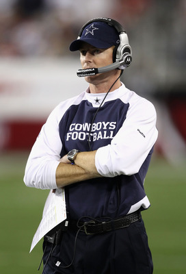 GLENDALE, AZ - DECEMBER 25:  Head coach Jason Garrett of the Dallas Cowboys watches from the sidelines during the NFL game against the Arizona Cardinals at the University of Phoenix Stadium on December 25, 2010 in Glendale, Arizona. The Cardinals defeated