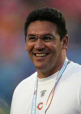 MIAMI GARDENS, FL - FEBRUARY 04:  Defensive Coordinator Ron Rivera of the Chicago Bears smiles on the field prior to the start of Super Bowl XLI against the Indianapolis Colts on February 4, 2007 at Dolphin Stadium in Miami Gardens, Florida.  (Photo by Jo
