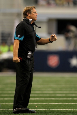 ARLINGTON, TX - OCTOBER 31:  Head coach Jack Del Rio of the Jacksonville Jaguars reacts against the Dallas Cowboys at Cowboys Stadium on October 31, 2010 in Arlington, Texas.  (Photo by Stephen Dunn/Getty Images)