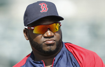 JUPITER, FL - MARCH 24: David Ortiz #34 of the Boston Red Sox warms up prior to the game against the Florida Marlins at Roger Dean Stadium on March 24, 2011 in Jupiter, Florida. (Photo by Joel Auerbach/Getty Images)