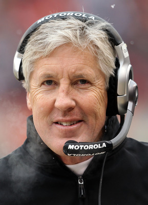 CHICAGO, IL - JANUARY 16:  Head coach Pete Carroll of the Seattle Seahawks looks on from the sideline in the first half against the Chicago Bears in the 2011 NFC divisional playoff game at Soldier Field on January 16, 2011 in Chicago, Illinois.  (Photo by