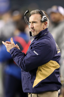 SEATTLE, WA - JANUARY 02:  Head coach Steve Spagnuolo of the St. Louis Rams looks on during their game against the Seattle Seahawks at Qwest Field on January 2, 2011 in Seattle, Washington.  (Photo by Otto Greule Jr/Getty Images)