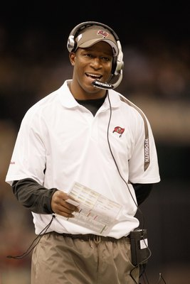 NEW ORLEANS - DECEMBER 27:  Head coach Raheem Morris of the Tampa Bay Buccaneers walks on the sidelines during the game against the New Orleans Saints at the Louisiana Superdome on December 27, 2009 in New Orleans, Louisiana. (Photo by Jamie Squire/Getty
