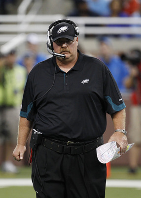 DETROIT - SEPTEMBER 19:  Philadelphia Eagles head coach Andy Reid during the game against the Detroit Lions at Ford Field on September 19, 2010 in Detroit, Michigan. The Eagles defeated the Lions 35-32.  (Photo by Leon Halip/Getty Images)