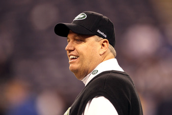INDIANAPOLIS, IN - JANUARY 08:  Head coach Rex Ryan of the New York Jets looks on during warm ups against the Indianapolis Colts during their 2011 AFC wild card playoff game at Lucas Oil Stadium on January 8, 2011 in Indianapolis, Indiana.  (Photo by Andy