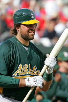 TEMPE, AZ - MARCH 05:  Mike Piazza #31 of the Oakland Athletics waits to bat during the game against the Los Angeles Angels of Anaheim on March 5, 2007 at Tempe Diablo Stadium in Tempe, Arizona.  (Photo by Lisa Blumenfeld/Getty Images)