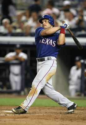 NEW YORK - AUGUST 25:  Ivan Rodriguez #7 of the Texas Rangers bats against the New York Yankees  on August 25, 2009 at Yankee Stadium in the Bronx borough of New York City. (Photo BY Al Bello/Getty Images)