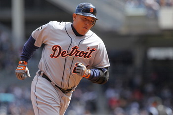 NEW YORK, NY - APRIL 03: Miguel Cabrera #24 of the Detroit Tigers rounds the bases after a two run homerun against the New York Yankees at Yankee Stadium on April 3, 2011 in the Bronx borough of New York City.  (Photo by Nick Laham/Getty Images)