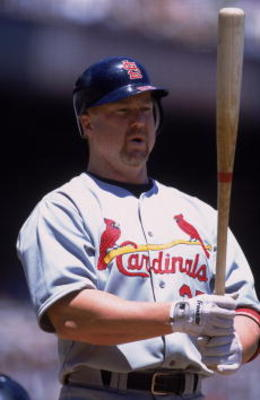 30 Jun 2001:  Mark McGwire #25 of the St. Louis Cardinals at bat during the game against the San Francisco Giants at Pac Bell Park in San Francisco, California.  The Giants defeated the Cardinals 5-2.Mandatory Credit: Jed Jacobsohn  /Allsport