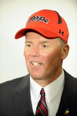 COLLEGE PARK, MD - JANUARY 3:  Randy Edsall speaks as he is introduced as the University of Maryland Terps new head football coach during a press conference on January 3, 2011 at the Byrd Stadium in College Park, Maryland.  (Photo by Mitchell Layton/Getty