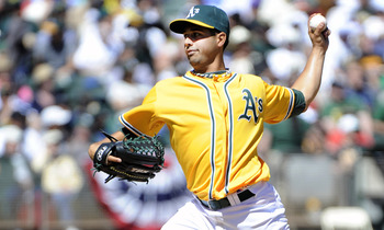 OAKLAND, CA - APRIL 3: Gio Gonzalez #47 of the Oakland Athletics pitches against the Seattle Mariners during a MLB baseball game at the Oakland-Alameda County Coliseum April 3, 2011 in Oakland, California.  (Photo by Thearon W. Henderson/Getty Images)