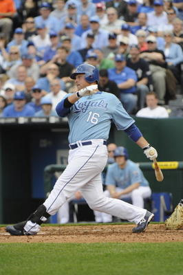 KANSAS CITY, MO - APRIL 05:  Billy Butler #16  of the Kansas City Royals swings at the pitch during the season opener game against the Detroit Tigers on April 5, 2010 at Kauffman Stadium in Kansas City, Missouri. (Photo by G. Newman Lowrance/Getty Images)