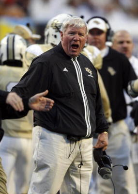 MEMPHIS, TN - DECEMBER 29: George O'Leary, head coach of the UCF Knights reacts after holding the Mississippi State Bulldogs to a field goal during the 49th Annual Autozone Liberty Bowl at Liberty Bowl Memorial Stadium December 29, 2007 in Memphis, Tennes