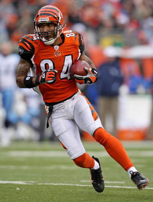 CINCINNATI - NOVEMBER 25:  T.J. Houshmandzadeh #84 of the Cincinnati Bengals runs with the ball during the NFL game against the Tennessee Titans on November 25, 2007 at Paul Brown Stadium in Cincinnati, Ohio.  (Photo by Andy Lyons/Getty Images)
