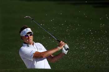 AUGUSTA, GA - APRIL 04:  Ian Poulter of England plays a shot during a practice round prior to the 2011 Masters Tournament at Augusta National Golf Club on April 4, 2011 in Augusta, Georgia.  (Photo by Andrew Redington/Getty Images)