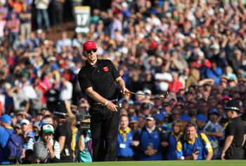 NEWPORT, WALES - OCTOBER 04: Hunter Mahan of the USA watches his pitch shot on the 17th hole in the singles matches during the 2010 Ryder Cup at the Celtic Manor Resort on October 4, 2010 in Newport, Wales. (Photo by Jamie Squire/Getty Images)