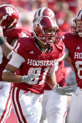BLOOMINGTON, IN - NOVEMBER 01:  Tandon Doss #81 of the Indiana Hooisers celebrates on the field during the game against the Central Michigan Chippewas at Memorial Stadium on November 1, 2008 in Bloomington, Indiana.  (Photo by Andy Lyons/Getty Images)