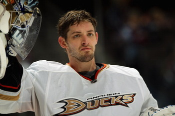 DENVER, CO - MARCH 11:  Goalie Dan Ellis #38 of the Anaheim Ducks looks on during a break in the action against the Colorado Avalanche during NHL action at the Pepsi Center on March 11, 2011 in Denver, Colorado. Ellis earned the win, making 24 saves, as t