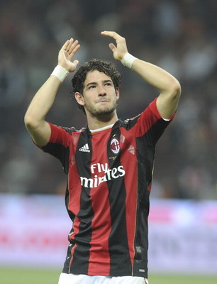 MILAN, ITALY - APRIL 02:  Alexandre Pato of AC Milan celebrate victory  after the Serie A match between AC Milan and FC Internazionale Milano at Stadio Giuseppe Meazza on April 2, 2011 in Milan, Italy.  (Photo by Dino Panato/Getty Images)