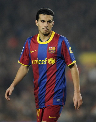 BARCELONA, SPAIN - JANUARY 16:  Pedro Rodriguez of FC Barcelona looks on during the La Liga match between FC Barcelona and Malaga at Nou Camp on January 16, 2011 in Barcelona, Spain. Barcelona won 4-1.  (Photo by David Ramos/Getty Images)