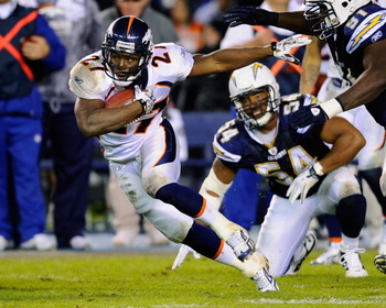 SAN DIEGO - NOVEMBER 22:  Knowshon Moreno #27 of the Denver Broncos rushes against the San Diego Chargers at Qualcomm Stadium on November 22, 2010 in San Diego, California. Chargers defeated the Broncos 35-14.  (Photo by Kevork Djansezian/Getty Images)