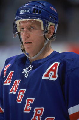 CALGARY- NOVEMBER 14:  Brian Leetch #2 of the New York Rangers looks to the action during the game against the Calgary Flames at the Pengrowth Saddledome on November 14, 2002 in Calgary, Alberta, Canada. The Rangers defeated the Flames 2-1. Photo by: Ian